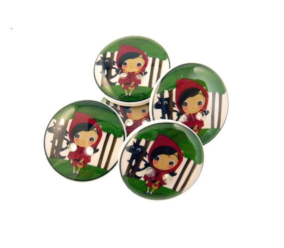 "Red Riding Hood Buttons. 5 Red Riding Hood resin sewing buttons 3/4"" or 20 mm."