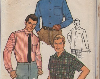1960s Simplicity 7745 Mens Tapered Sport Shirt Pattern Business Casual Adult Vintage Sewing Pattern Chest 36 42 46 OR 44