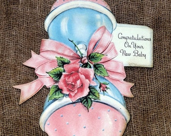 Retro New Baby Rattle Shower Favor Gift or Scrapbook Tags #665