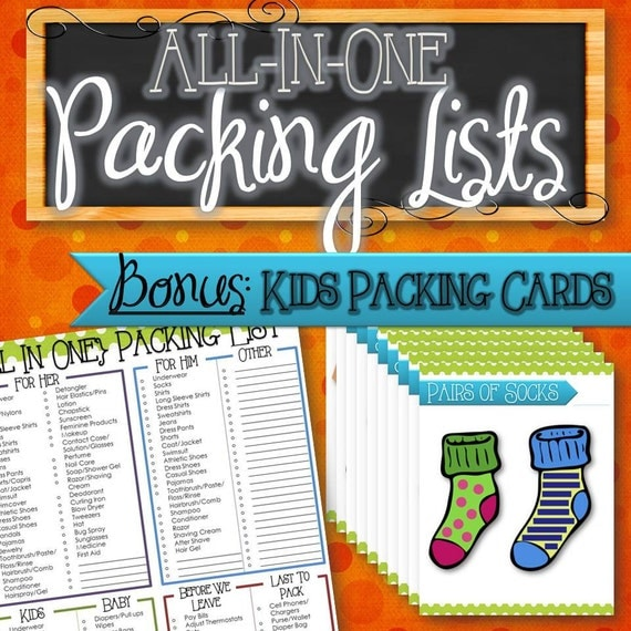 All-In-One Packing List with Bonus Kids Packing Cards - INSTANT DOWNLOAD