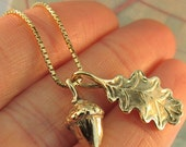 Gold Necklace - Leaf Charm - Oak Leaf and Acorn Charms - 14k Gold Pendant