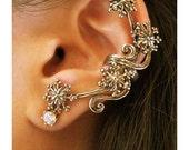 Star Ear Cuff Bronze Starburst Ear Cuff Star Jewelry Snowflake Jewelry Non-Pierced Earring Gold Color Ear Cuff Cuff Earring Star Jewelry