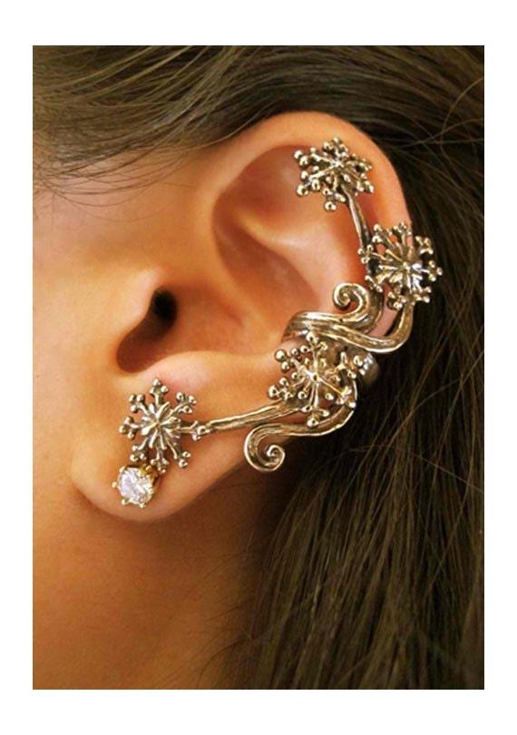 Star Ear Cuff Bronze Star Earring Starburst Ear Cuff Star Jewelry Snowflake Jewelry Bronze Ear Cuff Cuff Earring Star Jewelry Unique Earring