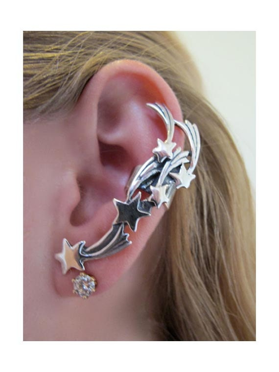 Star Ear Cuff Silver - Comet Ear Cuff - Star Ear Wrap - Star Earring - Shooting Star Earring - Silver Star Jewelry - Shooting Star Jewelry