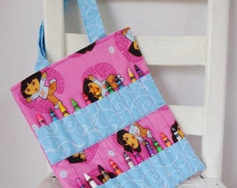 Reduced Dora the Explorer Crayon Bag Accessories Coloring Tote Crayons Toddler Birthday Gift Dora the Explorer Nickelodeon Kids Travel Tote