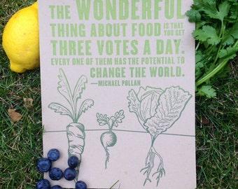 Wonderful Thing About Food Letterpress Print