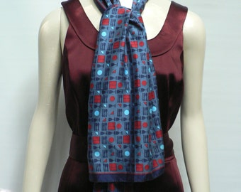 Dutch Vintage 1970s red  and blue Geometric Design Scarf/ 80s modernist  scarf
