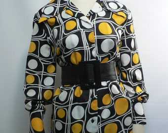 vintage 1970s yellow black op-art blouse/ 70s abstract shirt/ mod blouse