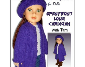 Knitting pattern, Long cardigan, Fits 18 inch, American and Journey Girl Dolls. Instant Download 049