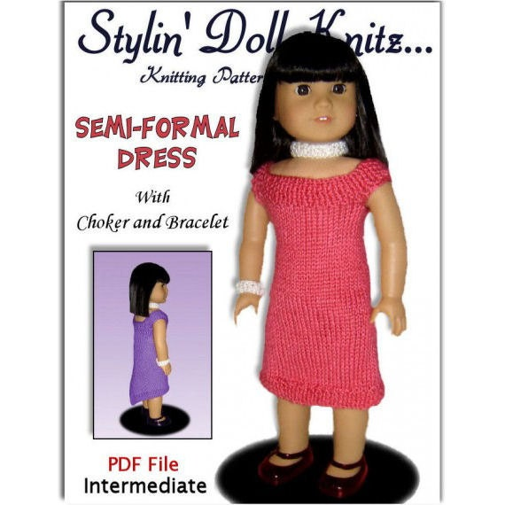 Knitting pattern, Semi Formal dress, Fits 18 inch, American Girl Doll, Instant Download 035