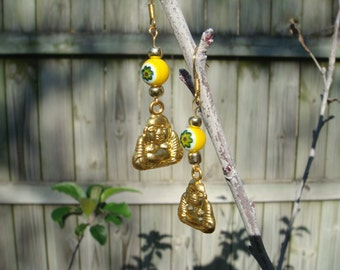 Gold Buddha Dangle Earrings with Gold and Yellow Beads