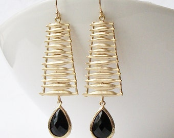 Black Crystal Drop Earrings, Geometric Earrings