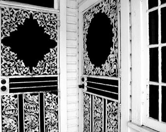 1911 Victorian Porch Doors in Black and White Fine Art Print - Door, Window, Building, Architecture, Vintage, Home Decor, Office Decor, Gift