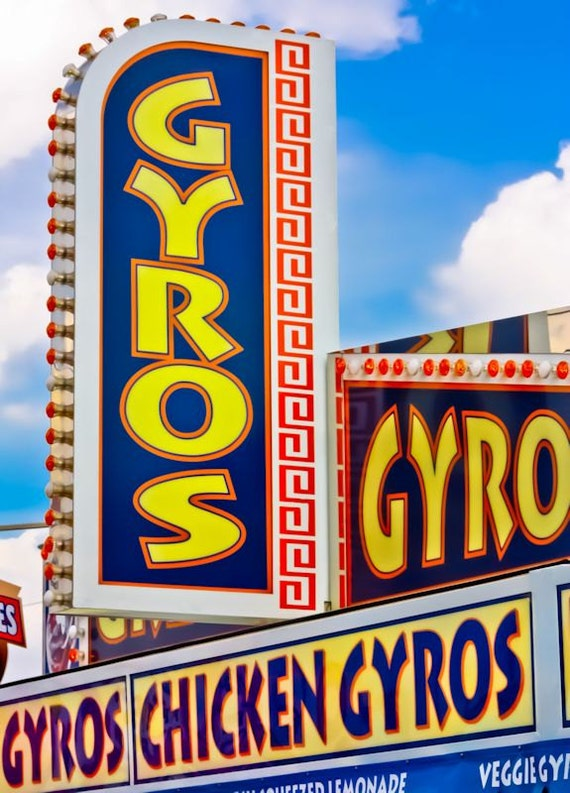 Gyros Carnival Food Stand Fine Art Print- Carnival Art, County Fair, Nursery Decor, Home Decor, Children, Baby, Kids