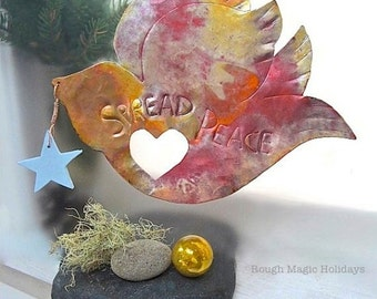 Peace Dove Christmas Tree Topper Holiday Decor. Hammered Copper Bird Decoration Peace on Earth Message Rustic Decor Primitive Country Decor