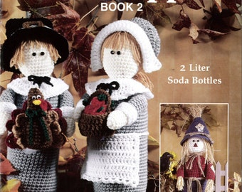 Holiday Bottle Toppers 2 Crochet Pattern Leaflet - PDF