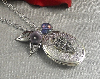 Silver Ellipse Bird Owl Locket, Victorian Inspired Leaf, Amethyst, Purple Botanical Locket- OPA