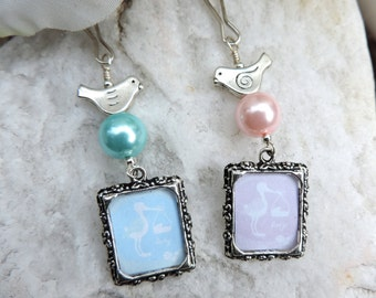 Photo charm. Baby shower gift. Gift for mother. Little bird picture frame charm with pink or blue pearl charm.  DIY photo jewelry.