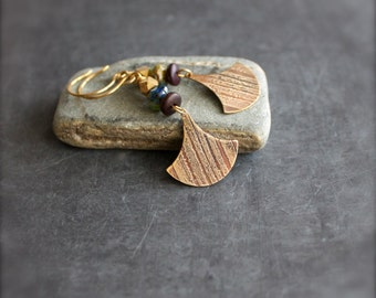 Etched Brass Dangle Drop Earrings Pendulum Swing Gold Metal Brown Wood Green Blue Glass Stripe Texture Lines Tribal Boho Jewellery