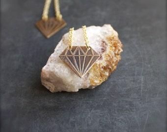 Etched Brass Diamond Drop Earrings Arrow Point Long Gold Chain Dangle Geometric Modern Boho Jewellery