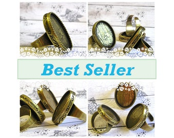 10 Oval Brass / antique Gold Bronze Ring Blank settings for 18x25 mm cab , adjustable wide band , oxidized ring bezel base , Free Shipping
