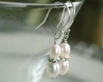 Pearl Rhinestone Earrings - White Pearl Earrings - Freshwater Pearls - Sterling Silver - Mother of Bride - Dangle Earrings - Classic Jewelry