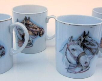 Coffee Tea  Mug Cup Vintage Horses Stallion Mare Ceramic Japan