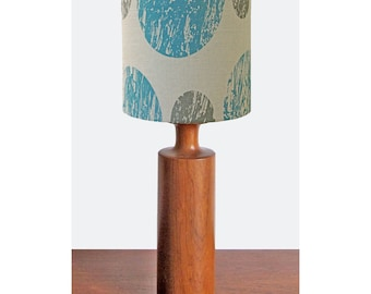 Curve Lampshade (Small) - Blue & grey hand printed and handmade linen lampshade