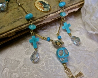 Deliver Us from Evil: Vintage Assemblage Rosary Necklace Turquoise Skull and Crosses Gold Cross with Stanhope Lens Peep Hole Lord's Prayer