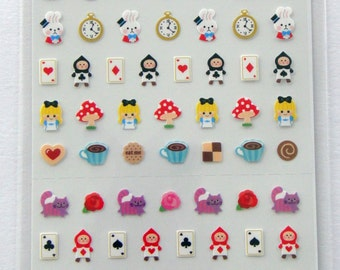 Cute Alice In Wonderland Stickers From Japan - Alice, Cheshire Cat, Flowers, Card Soldier, Teapot, Cake, Mad Hatter, Clock, Cookie, Key