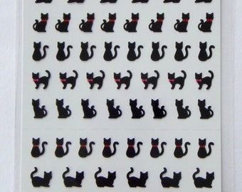 Cute Black Cats / Kittens With Red Bows Japanese Stickers