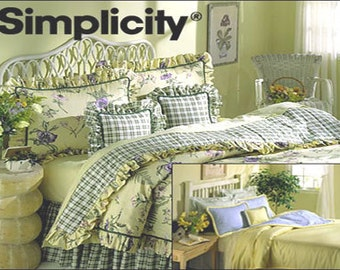 BEDROOM Sewing Pattern - COMFORTER Dust Ruffle Pillow Sham Bedding Basics OOP