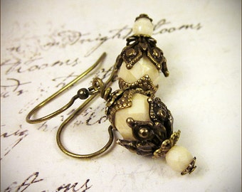 Cream Earrings, Medieval Renaissance Bridal Earrings, Renaissance Garb, Tudor Costume Jewelry, Victorian Earrings, SCA,  Rhiannon