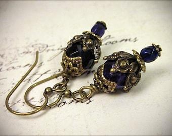 Royal Purple Earrings, Victorian Drop Earrings, Medieval, Renaissance, Bridal Earrings, Plum Bridesmaid, Tudor Costume, Ren Faire, Rhiannon