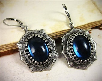 Renaissance Earrings, Blue Medieval Jewelry, Tudor Jewelry, Medieval Earrings, SCA, Renaissance Costume, Renaissance Faire, Ready to Ship