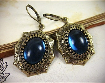 Dark Blue Renaissance Earrings, Midnight, Medieval Jewelry, Tudor, Medieval Bride, SCA Garb, Costume, Ren Faire Wedding, MedCol