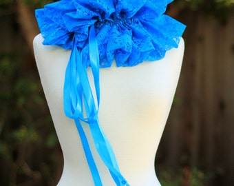 Turquoise Lace Collar - Fashion Neck Ruff for Burlesque or Elizabethan Costume