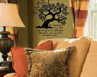 NEW Family Like Branches On A Tree We All Grow In Different Directions Yet Our Roots Remain As One vinyl wall decal