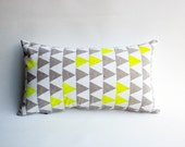 Mountains of Montana - neon yellow and grey triangle pattern organic pillow, hand printed