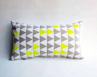 Mountains of Montana - triangle geomoetric pattern pillow, neon yellow and grey, organic pillow, eco-friendly home decor, hand printed
