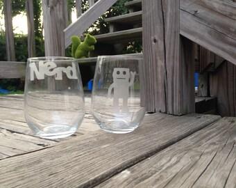 Nerd/Robot Glass Set - Set of 2