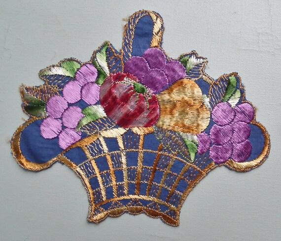 Vintage Applique Trim Art Deco - Large - 1920s 1930s - Basket of Fruit Embroidery 20s 30s sew on fabric applique