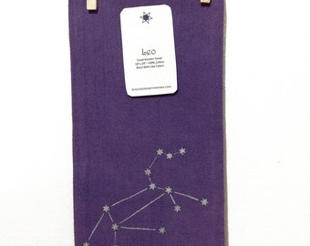 Leo - Lion Zodiac Constellation - Purple Screenprinted Small Kitchen Towel