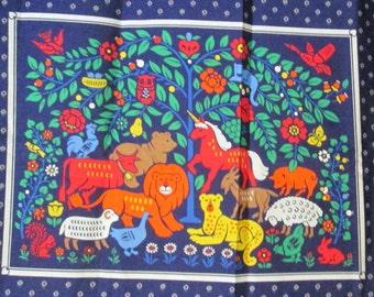 Fabric Panel Whimsical Animals Unicorn Owl Cat Lion
