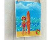 Childrens surf art, surfer girl, beach nursery decor, 8x10 print from original painting by Cathie Carlson