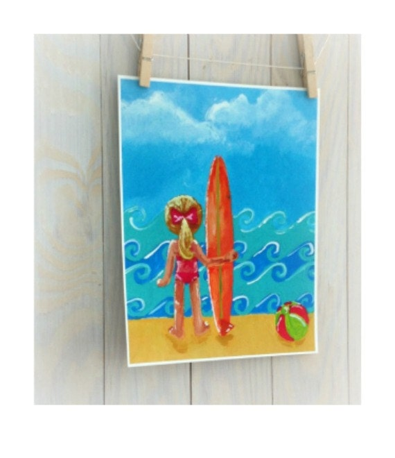 Items similar to childrens surf art surfer girl beach for Surf nursery ideas