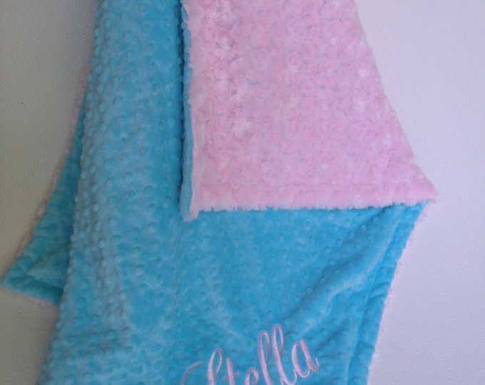 Aqua Turquoise and  Pink Minky Blanket for Baby Girl