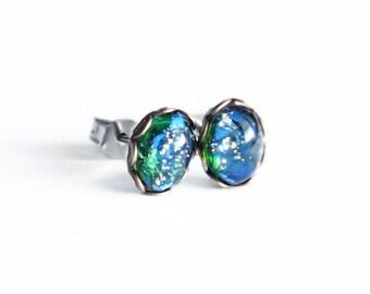 Green Opal Studs Tiny Vintage Fire Opal Post Earrings Emerald Studs Hypoallergenic