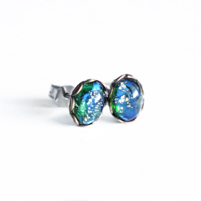 Green Opal Studs Tiny Vintage Fire Opal Post Earrings ...