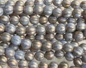 8mm Opaque Powder Blue Marbled Gold Czech Glass Melon Beads - Qty 25 (BW101)